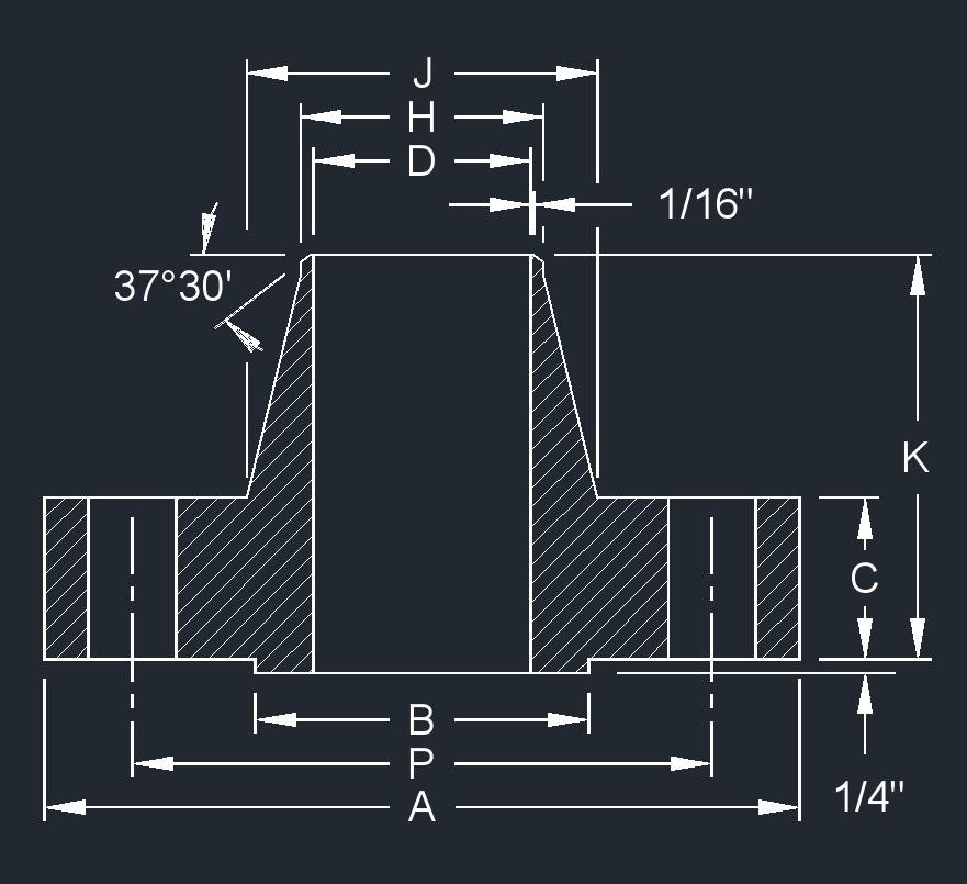 diagram of 4 1500 flange