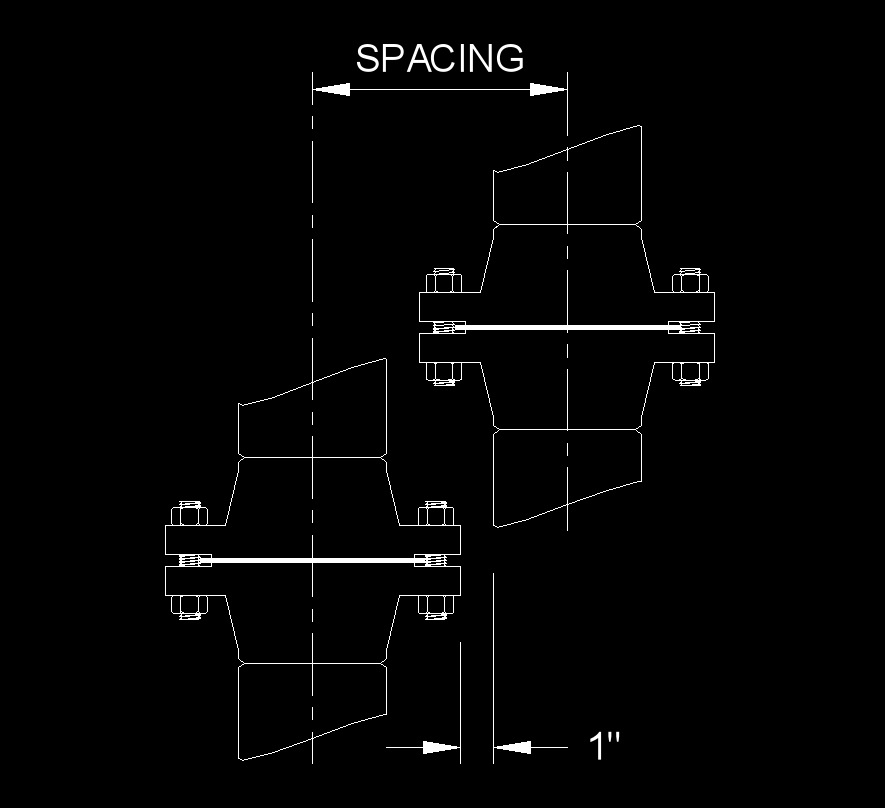 data pipe spacing pipe to flange